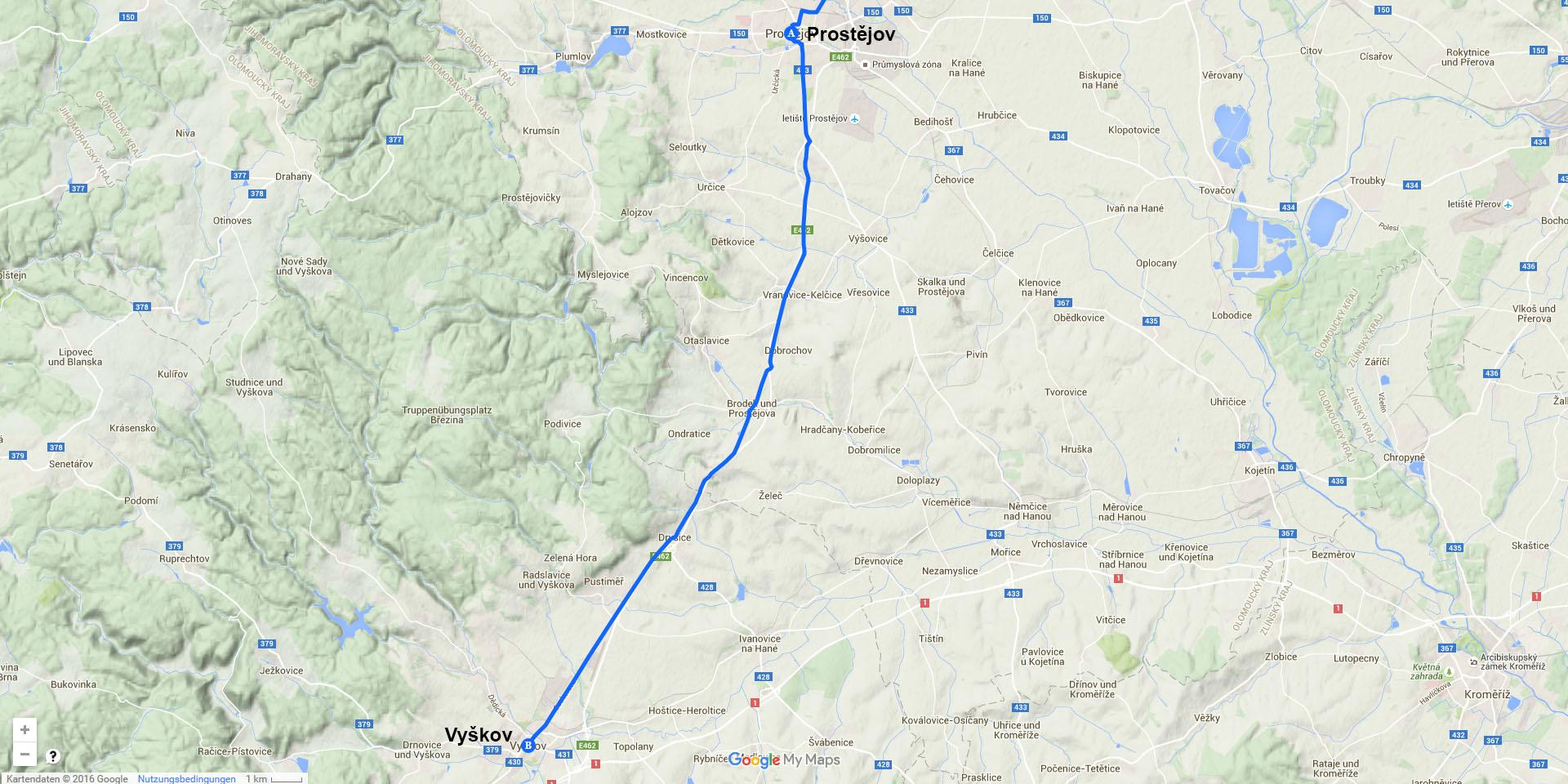 Die Tagesstrecke von Prostějov nach Vyškov (26 km)