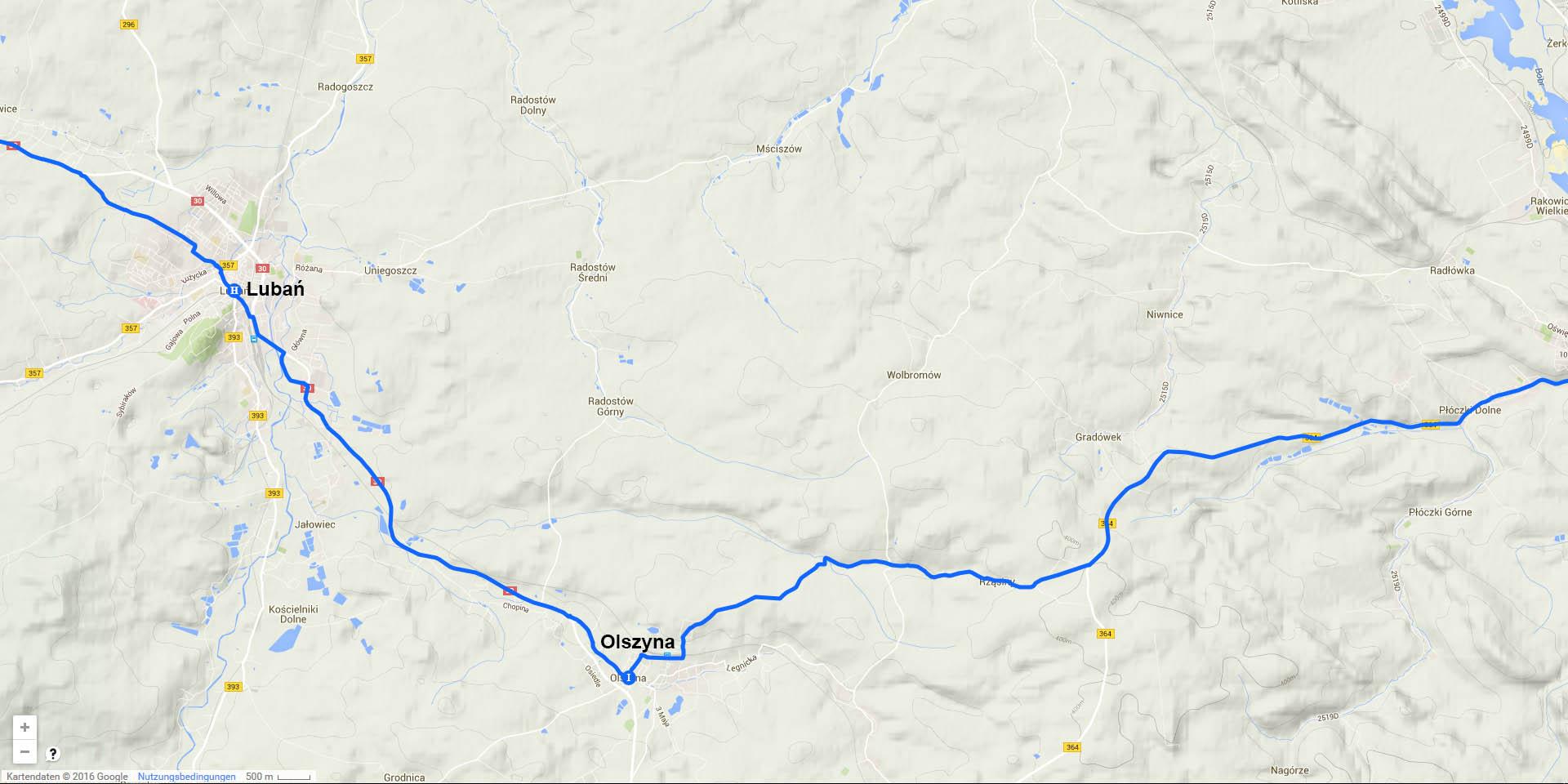 Die Tagesstrecke von Lubań nach Olszyna (11 km)