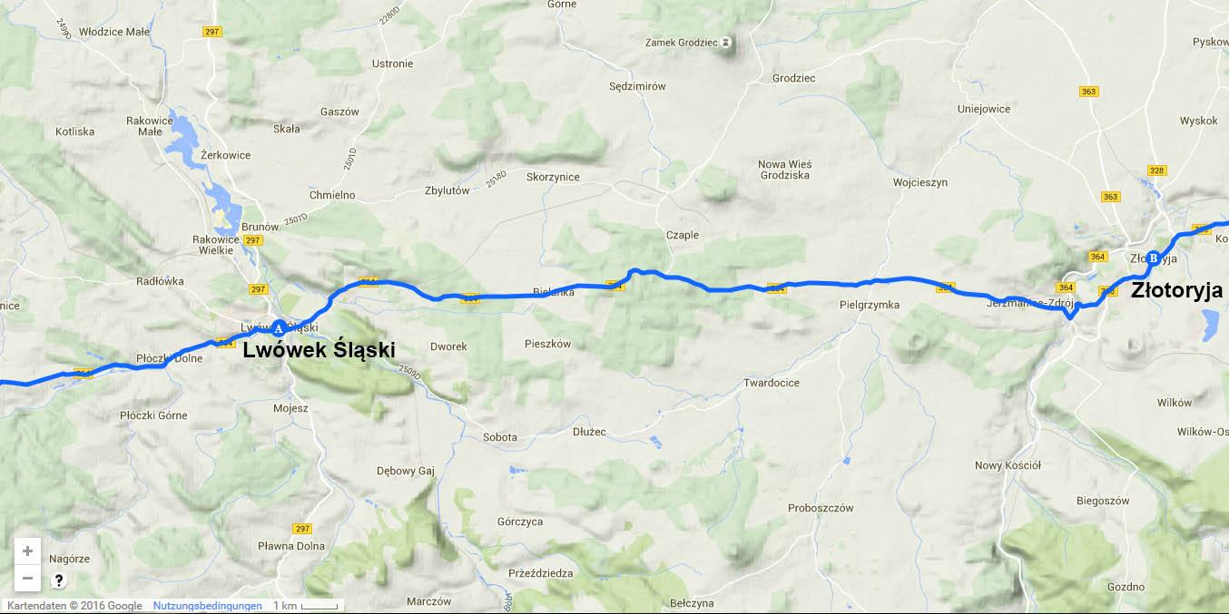Die Tagesstrecke von Lwówek Śląski nach Złotoryja (29 km)