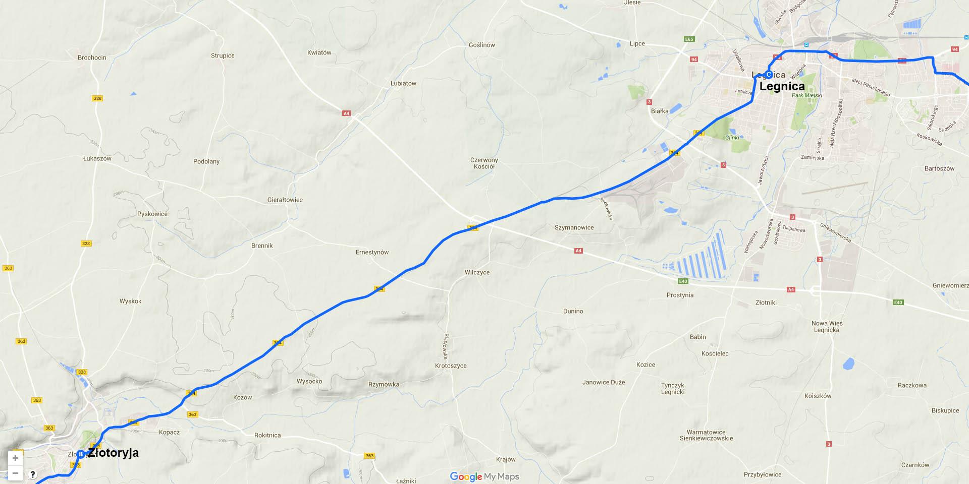 Die Tagesstrecke von Złotoryja nach Legnica (25 km)
