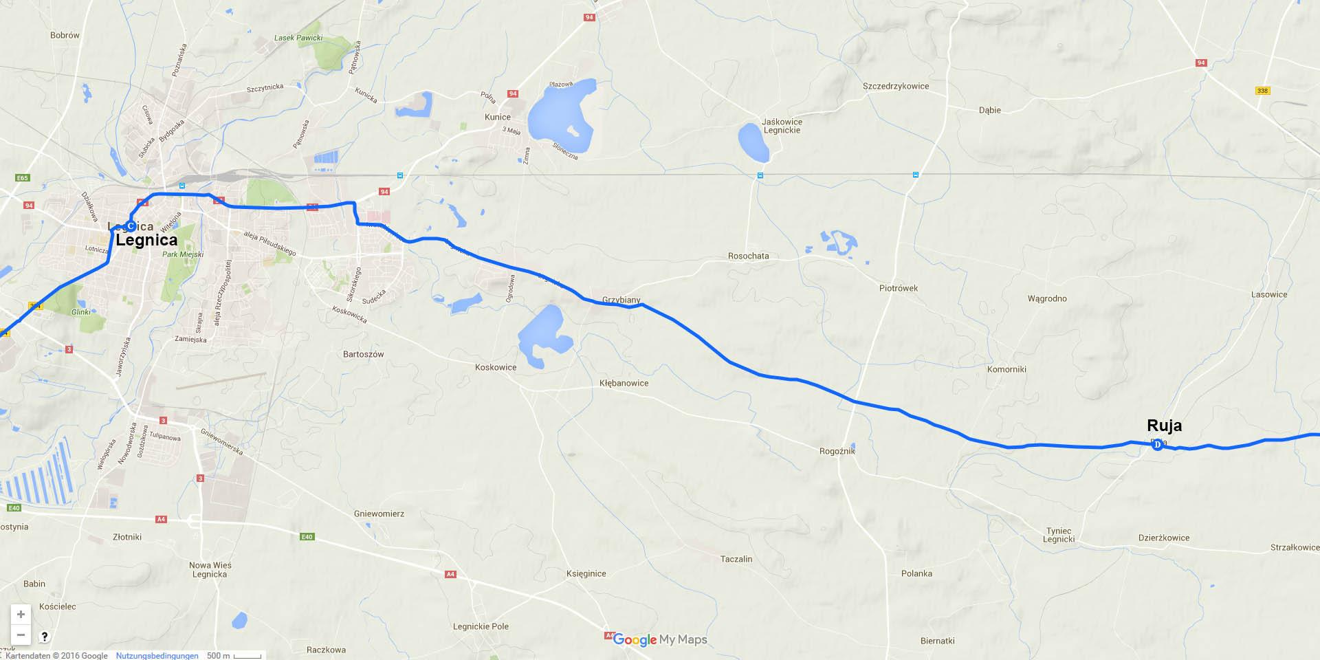 Die Tagesstrecke von Legnica nach Ruja (21 km)