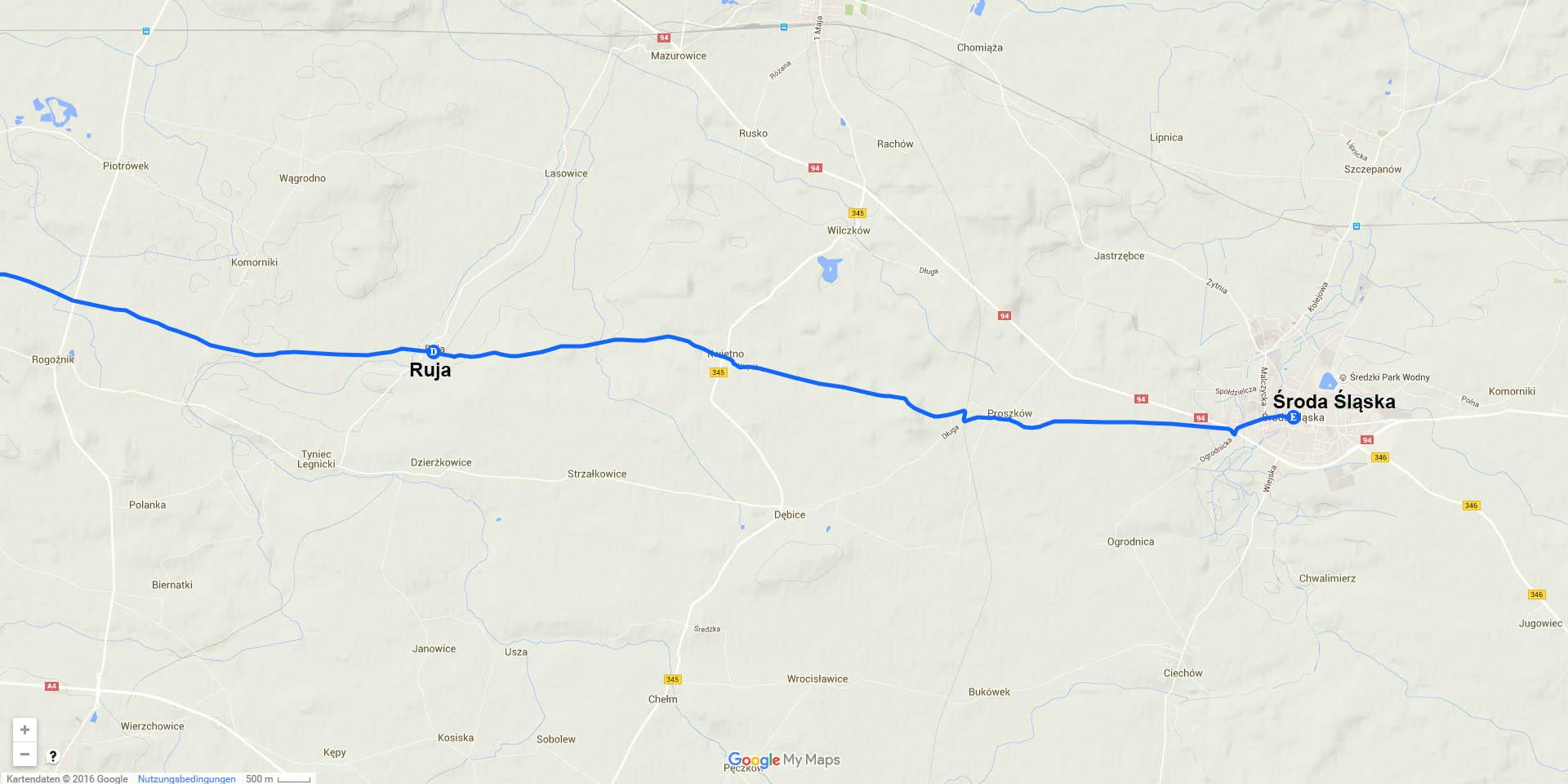 Die Tagesstrecke von Ruja nach Środa Śląsku (17 km)