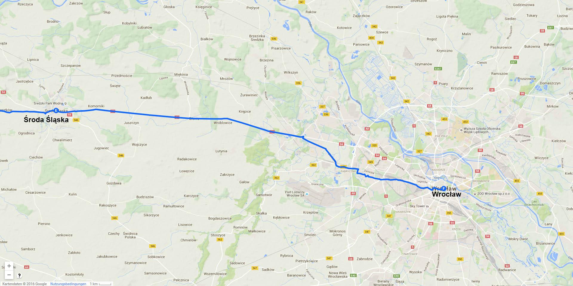 Die Tagesstrecke von Środa Śląska nach Wrocław (39 km)