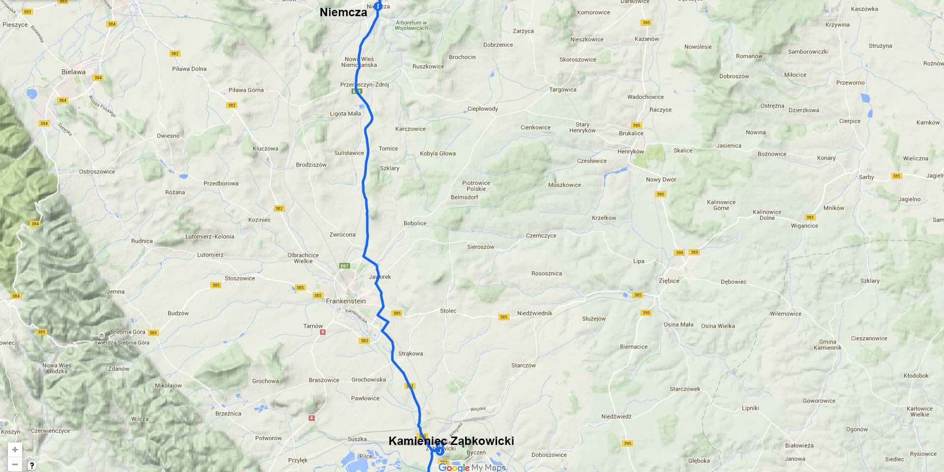 Die Tagesstrecke von Niemcza nach Kamieniec Ząbkowick (26 km)