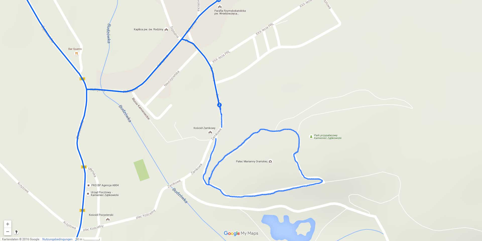 Die Tagesstrecke in Kamieniec Ząbkowicki (2 km)