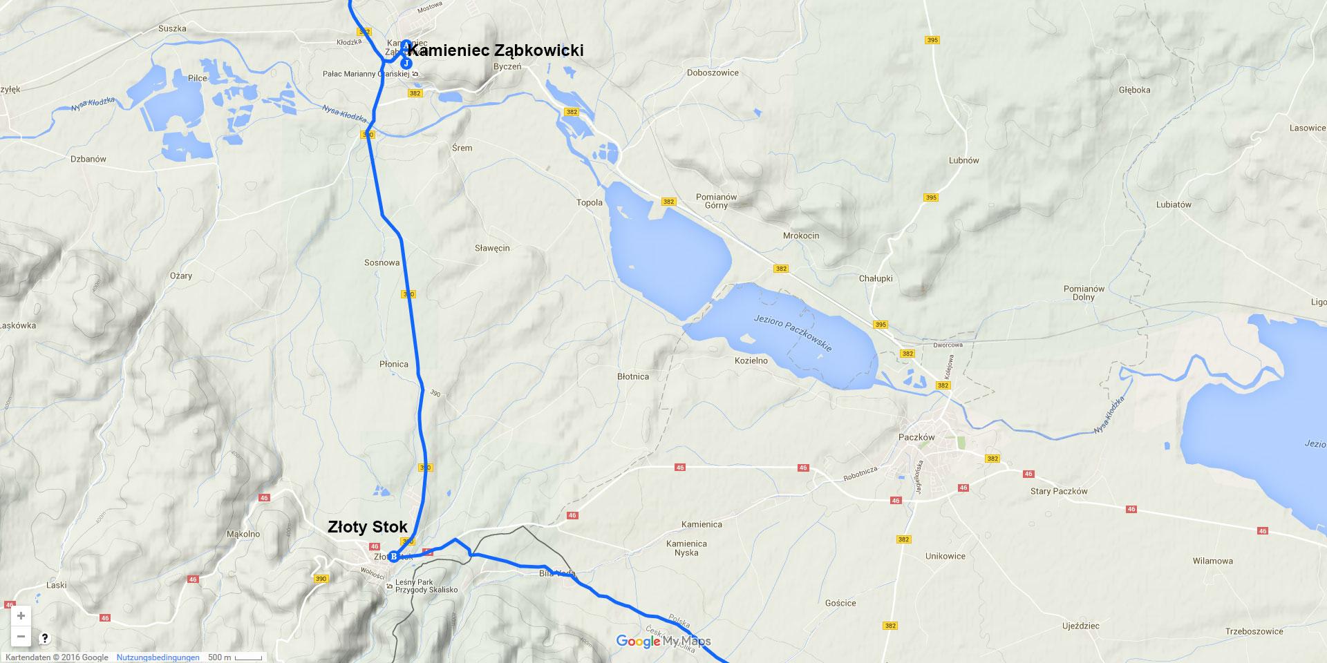 Die Tagesstrecke von Kamieniec Ząbkowicki nach Złoty Stok (12 km)
