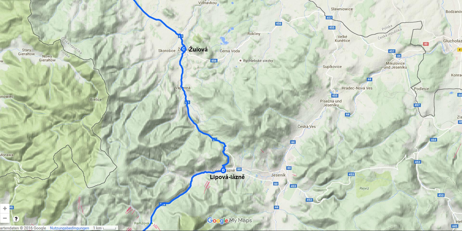 Die Tagesstrecke von Žulová nach Lipová-lázně (19 km)