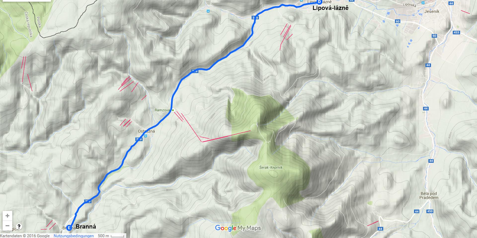 Die Tagesstrekce von Lipová-lázně nach Branná (14 km)