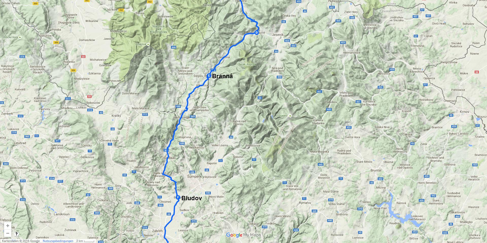 Die Tagesstrecke von Branná nach Bludov (37 km)