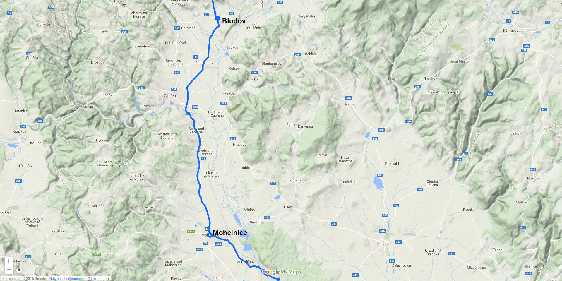 Die Tagesstrecke von Bludov nach Mohelnice (26 km)