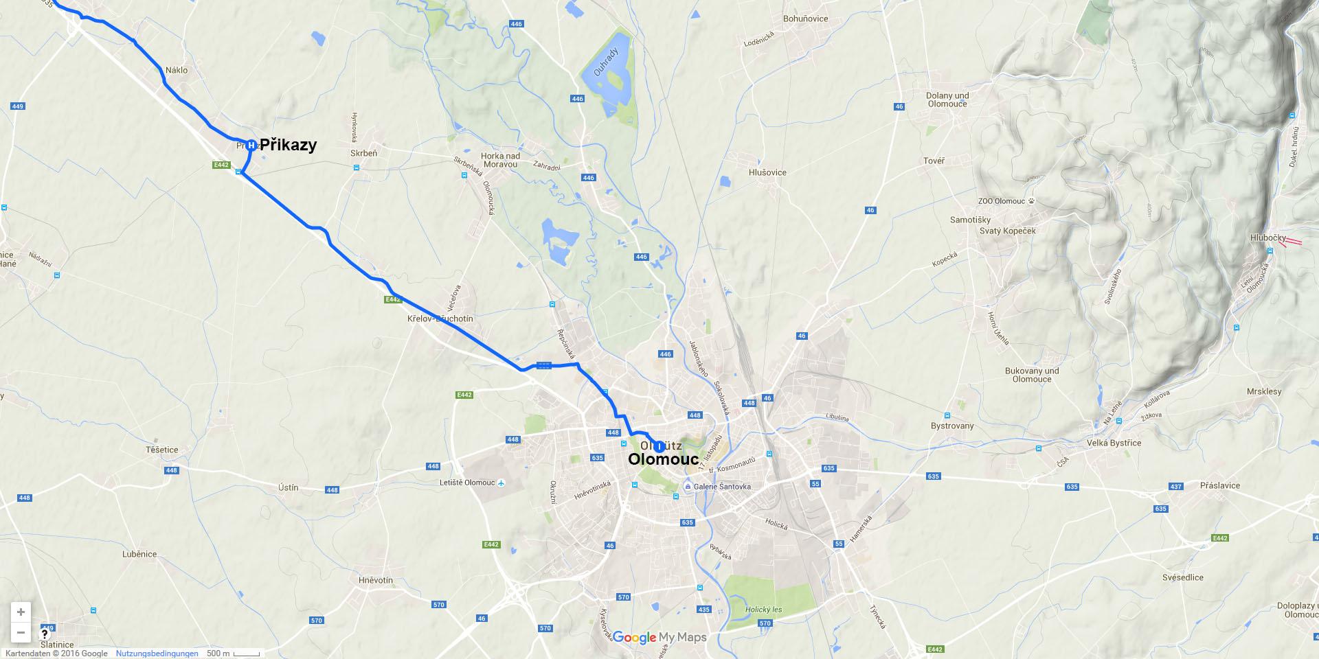 Die Tagesstrecke von Přikazy nach Olomouc