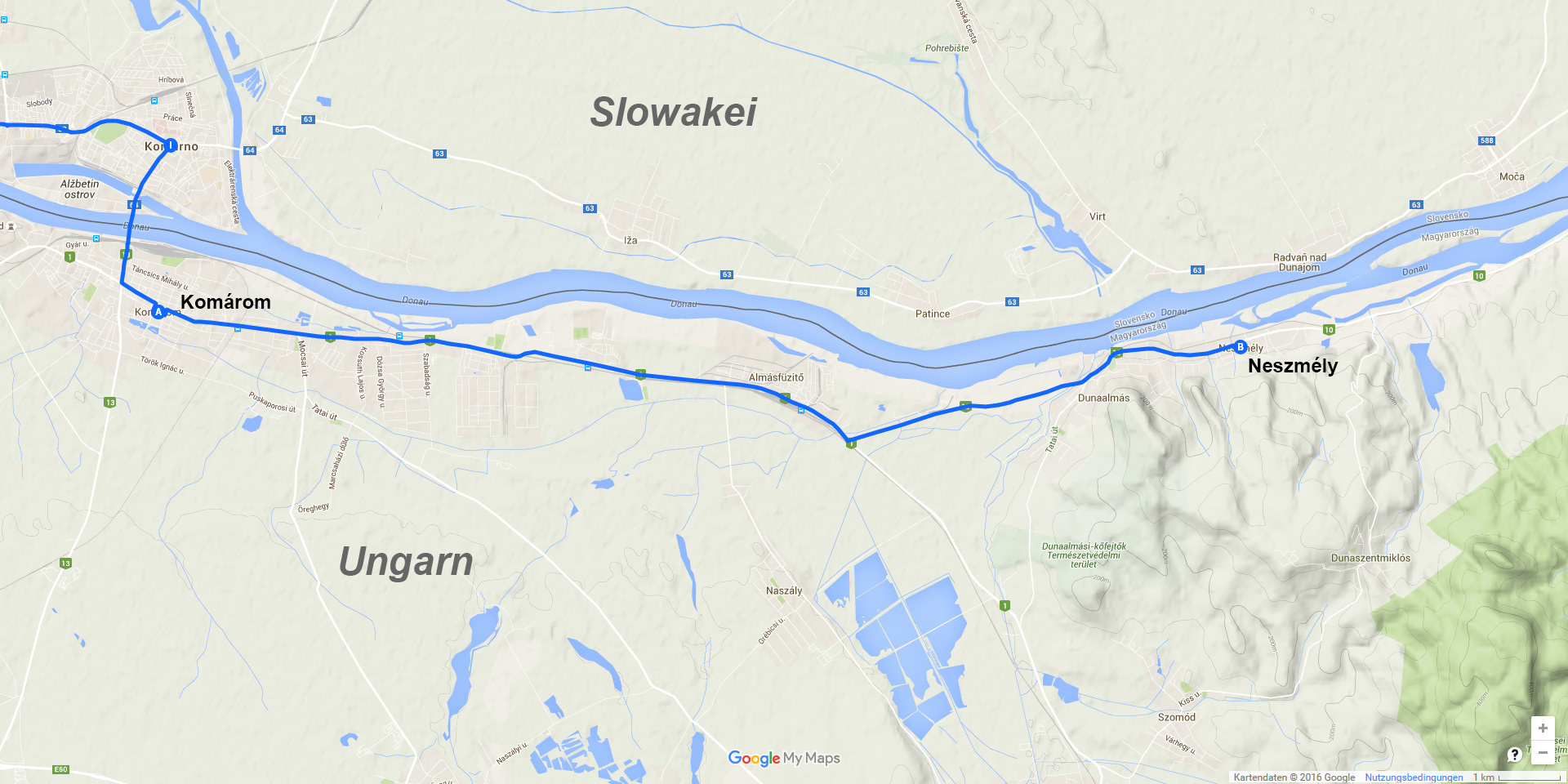 Die Tagesstrecke von Komárom nach Neszmély (18 km)
