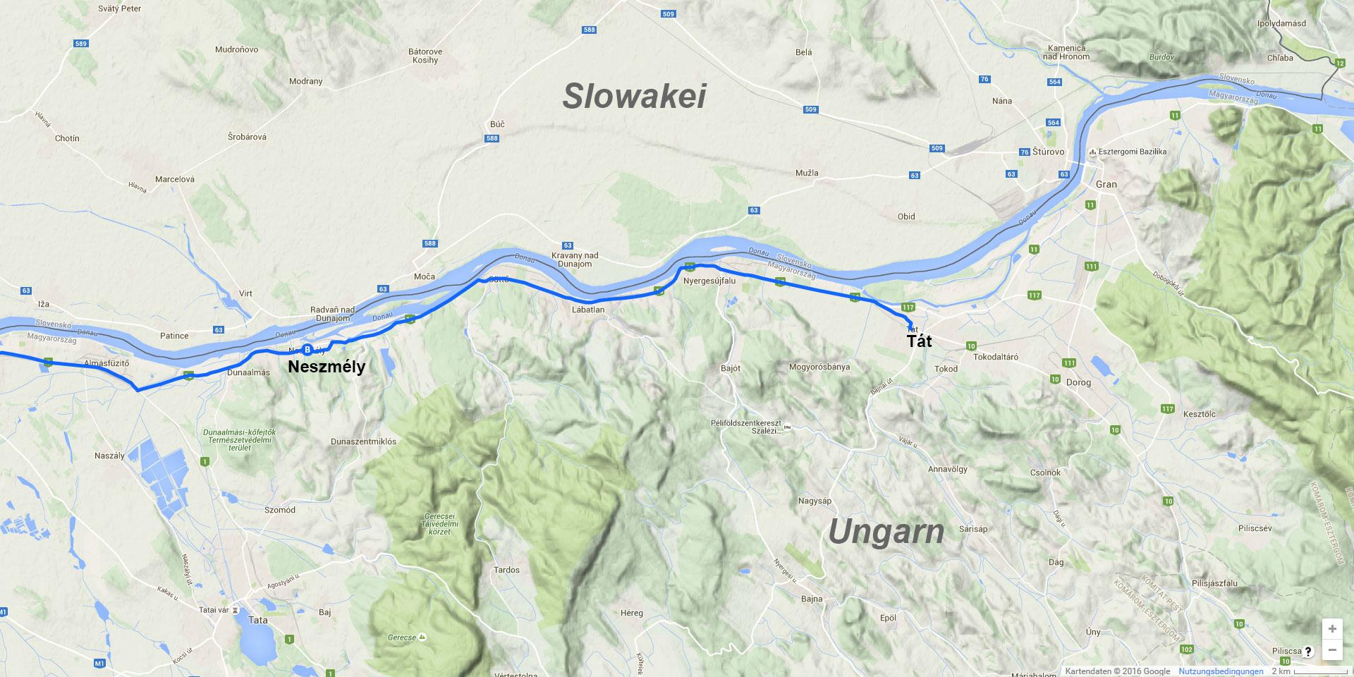 Die Tagesstrecke von Neszmély nach Tát (20 km)