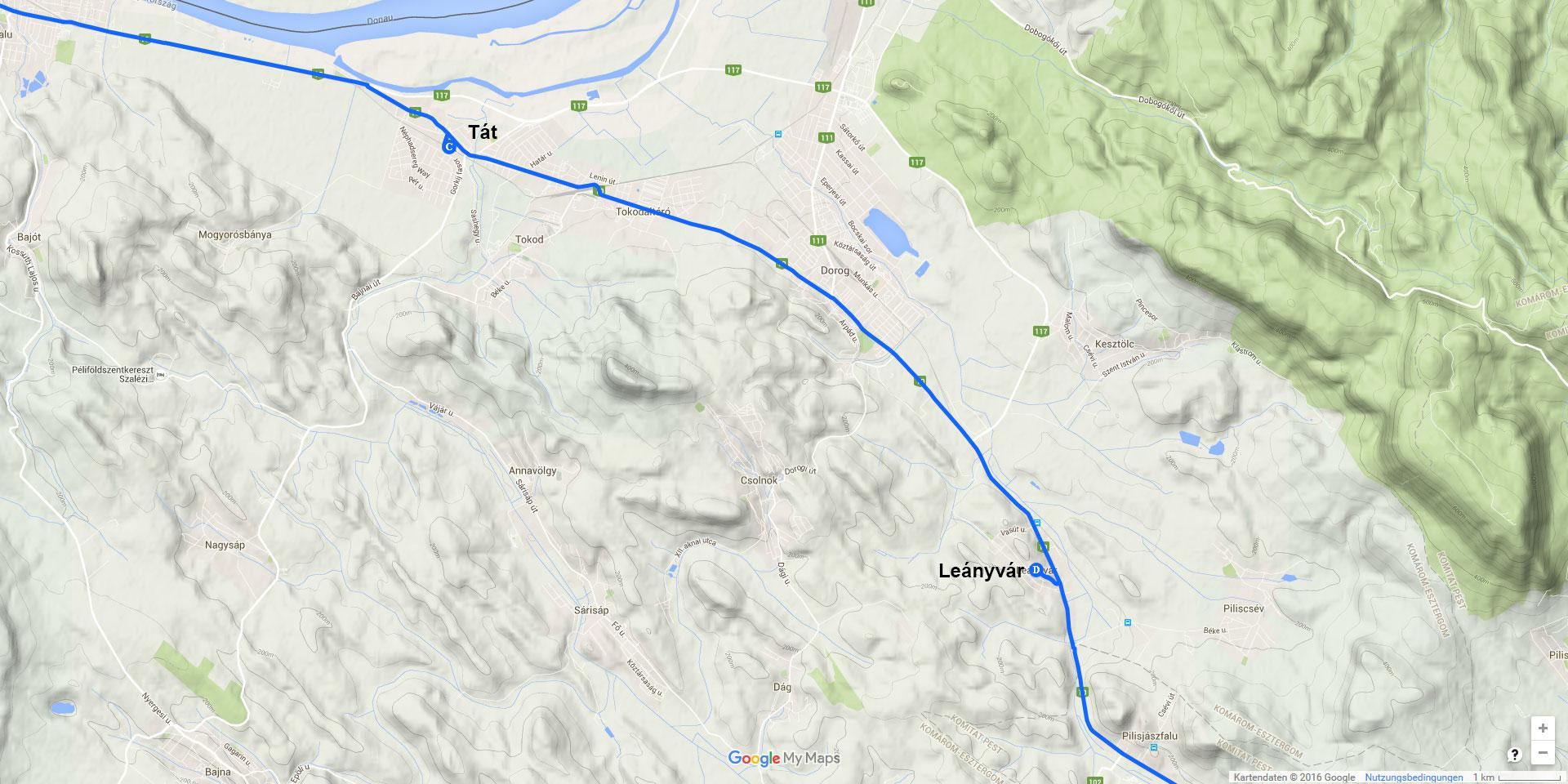 Die Tagesstrecke von Tát nach Leányvár (13 km)
