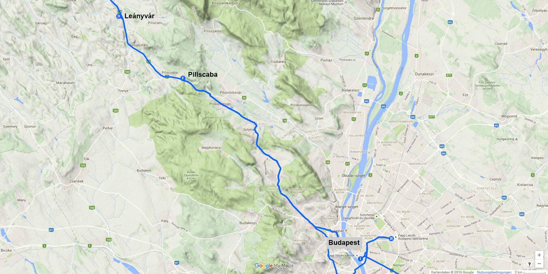 Die Tagesstrecke von Leányvár nach Budapest (41 km)