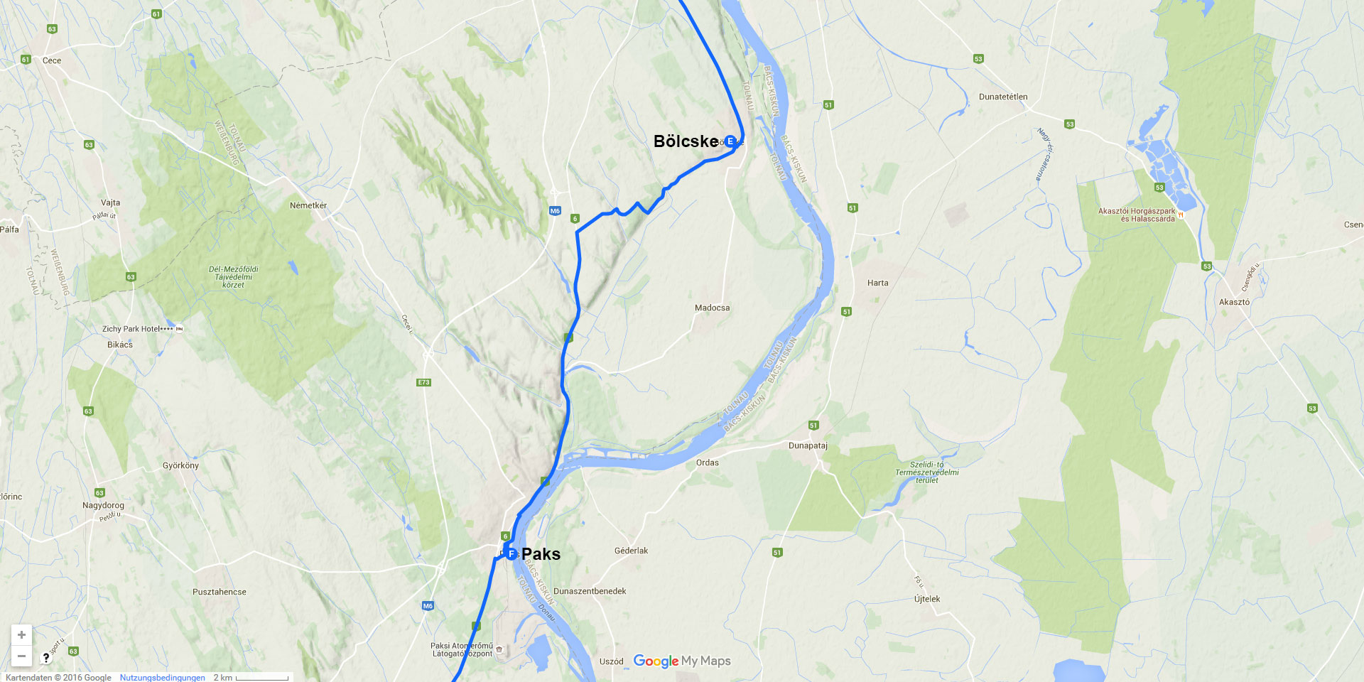 Die Tagesstrecke von Bölcske nach Paks (26 km)