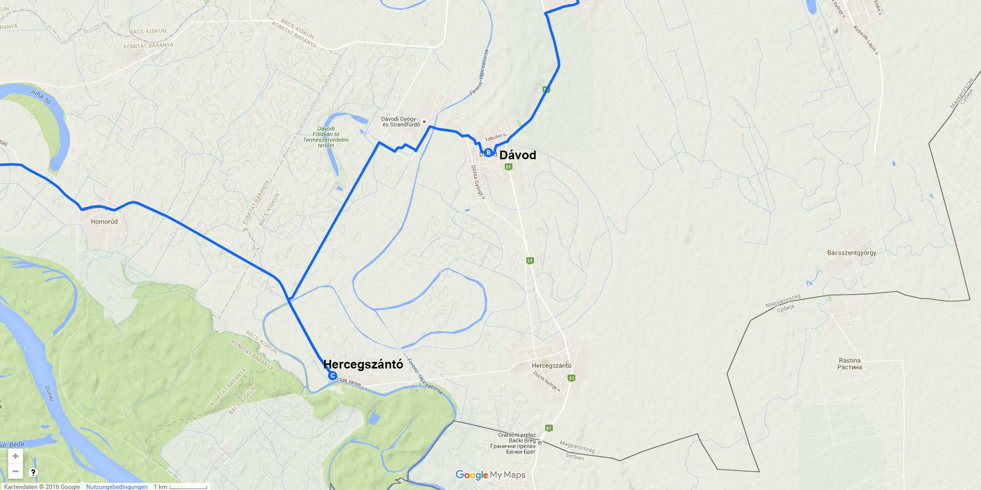 Die Tagesstrecke von Dávod nach Hercegszántó (9 km)